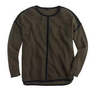 J. Crew lambswool tipped sweater olive green navy